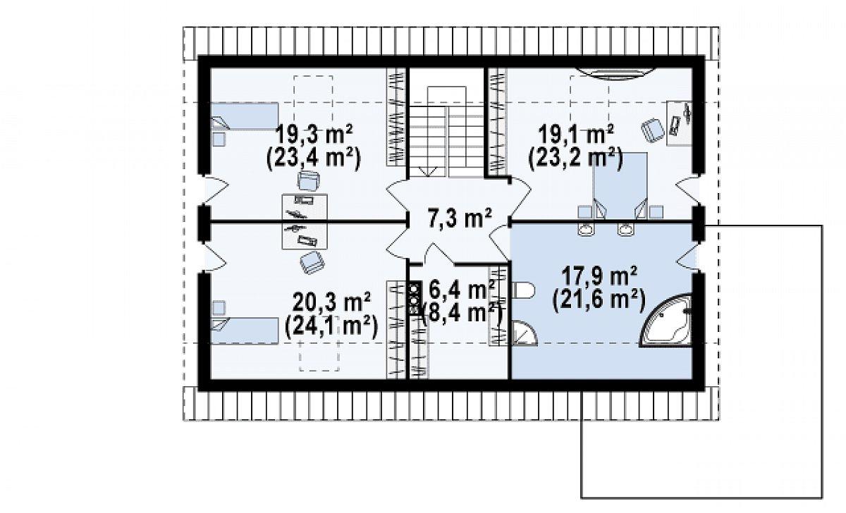 Второй этаж 89,9(108,1м²) дома Z142