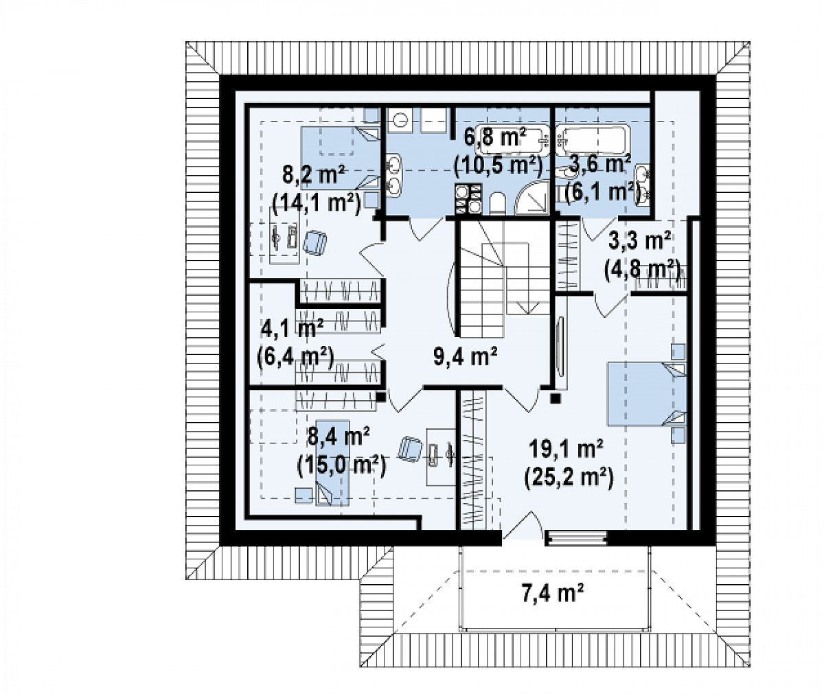 Второй этаж 62,8(91,5м²) дома Z143
