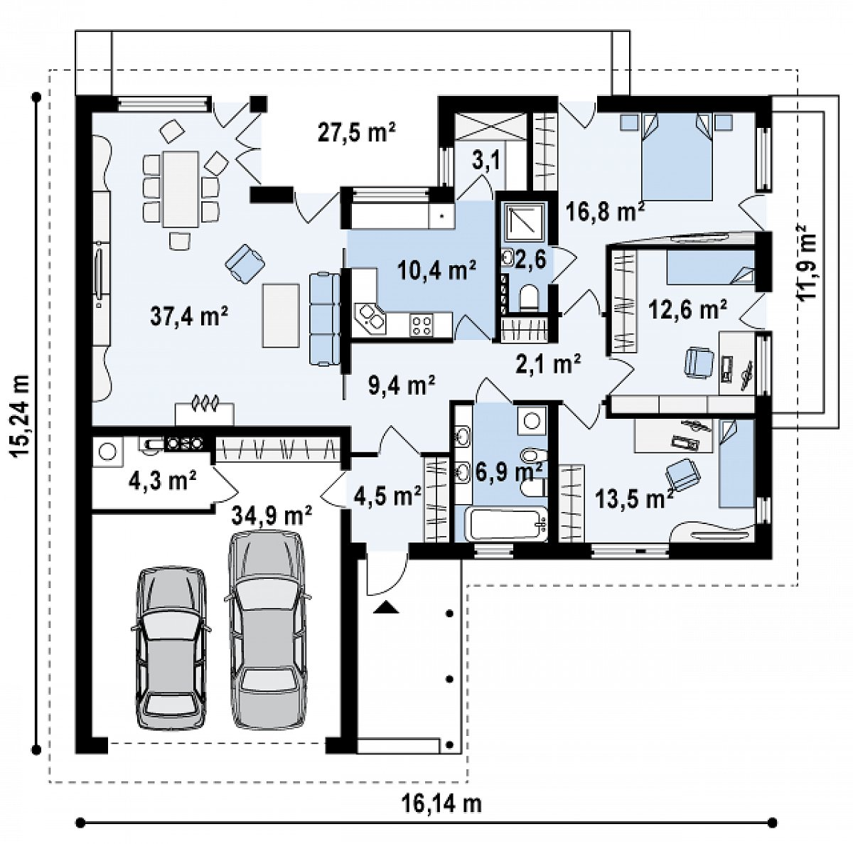 Первый этаж 126,6(165,9м²) дома Z144