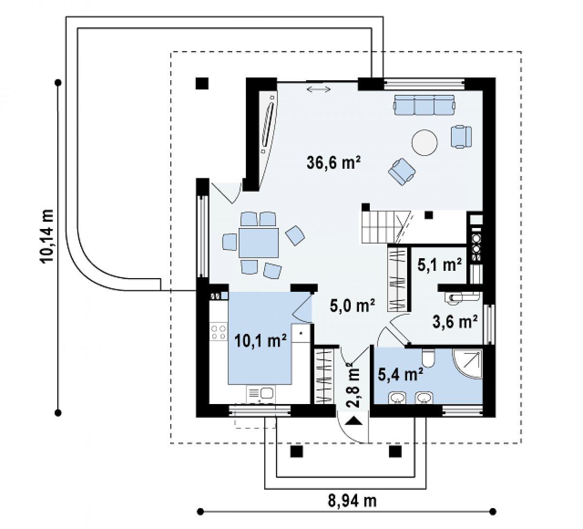 Первый этаж 68,5 м² дома Z145