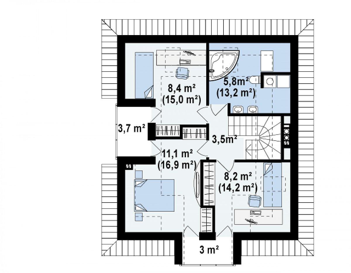 Второй этаж 37,0(62,9м²) дома Z145