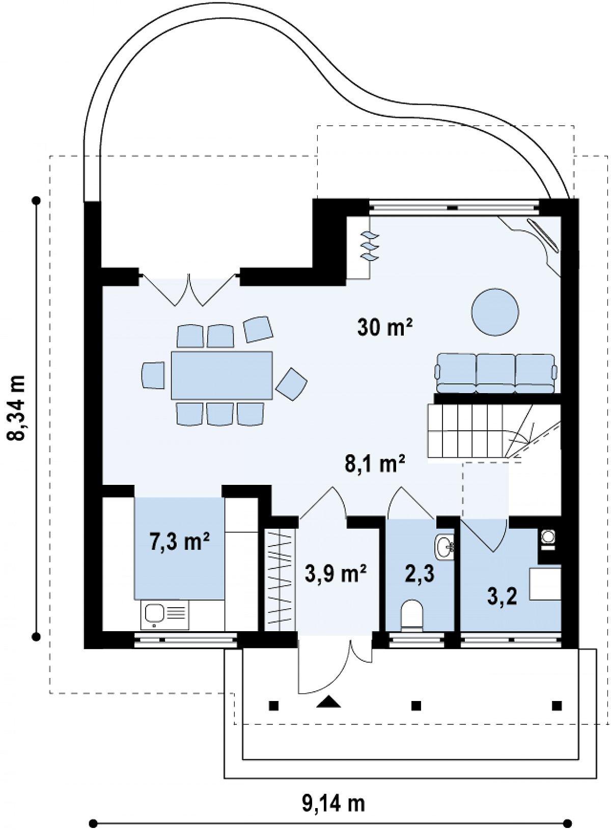 Первый этаж 54,8 м² дома Z146