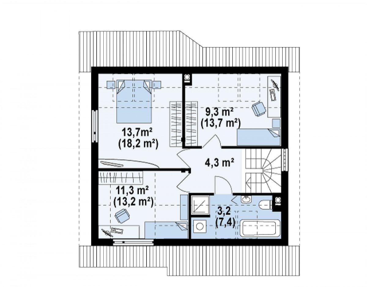 Второй этаж 41,9(56,8м²) дома Z146