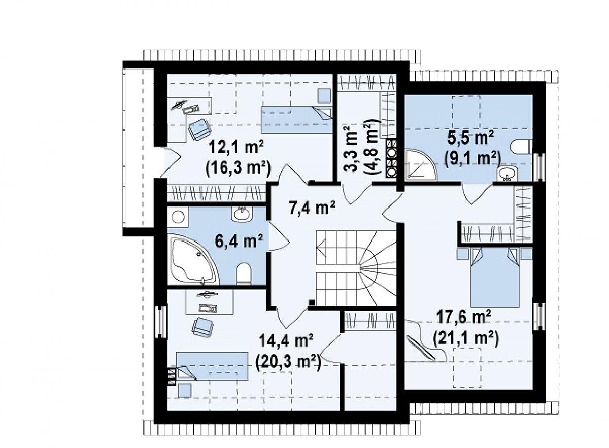 Второй этаж 66,7(85,3м²) дома Z147