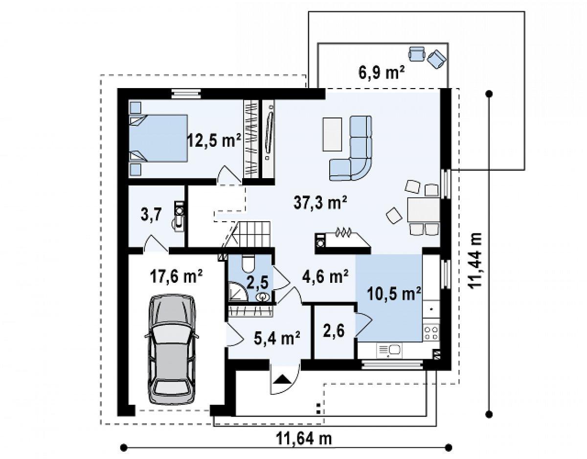 Первый этаж 86,0(103,6м²) дома Z148