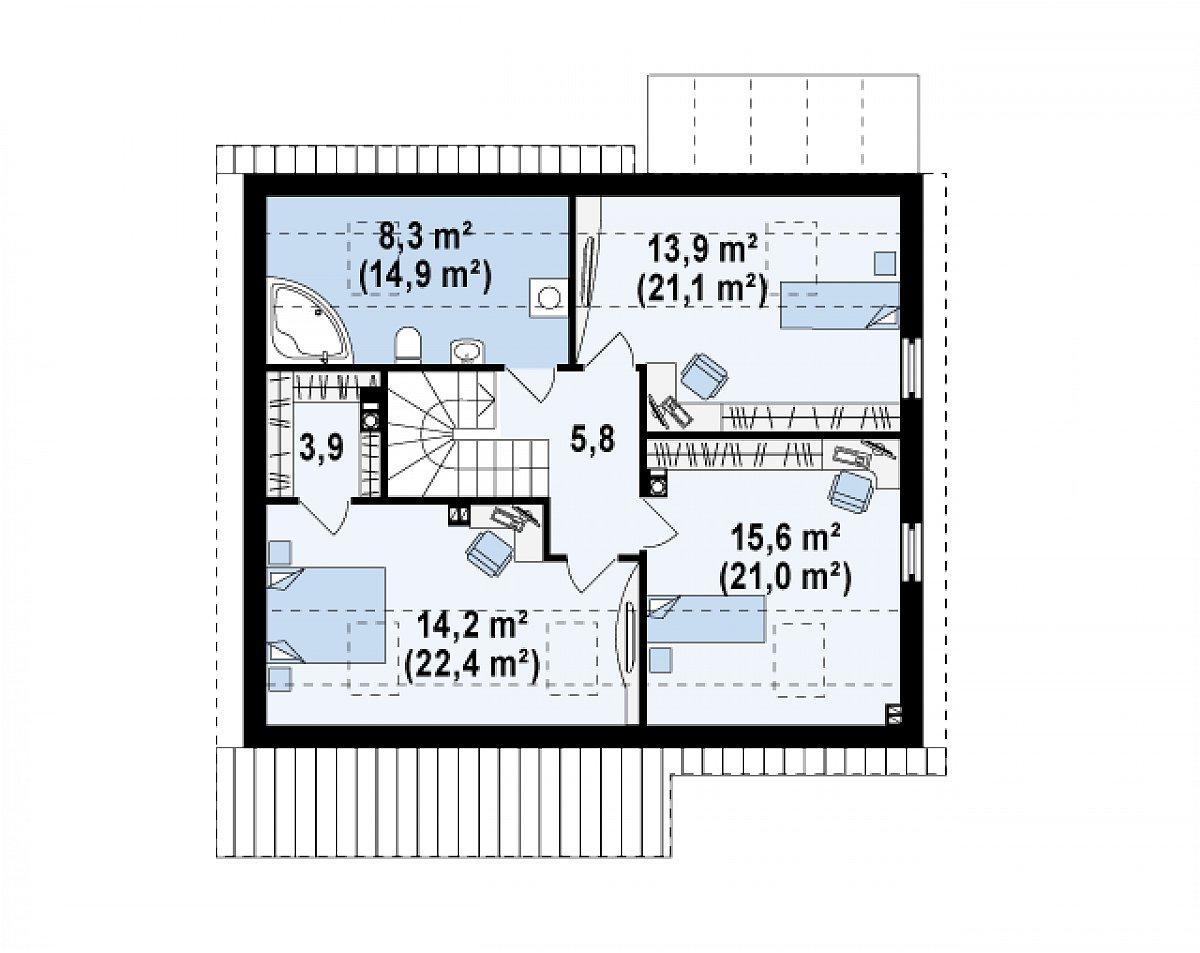 Второй этаж 61,6(89,1м²) дома Z148
