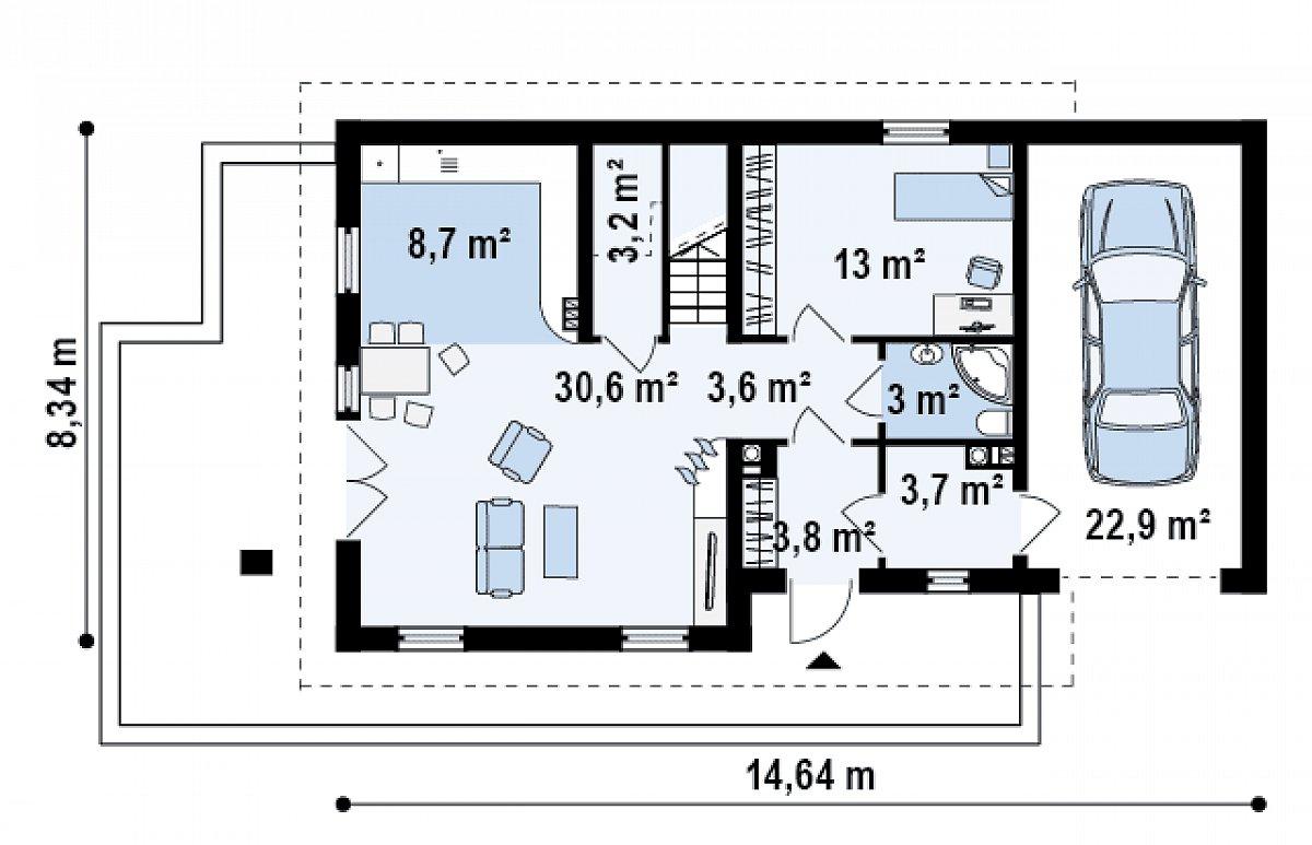 Первый этаж 69,5(92,4м²) дома Z149