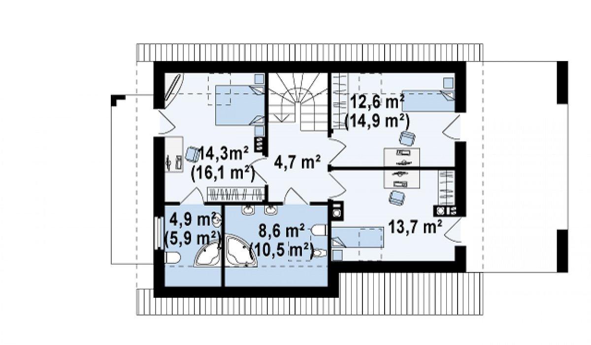 Второй этаж 58,3(65,7м²) дома Z149