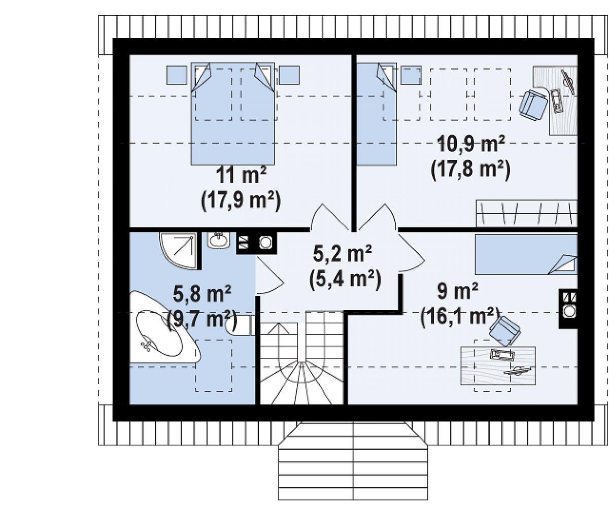 Второй этаж 41,9(66,9м²) дома Z14