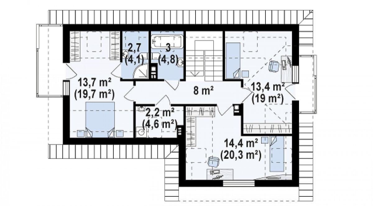 Второй этаж 57,4(80,6м²) дома Z150 GL