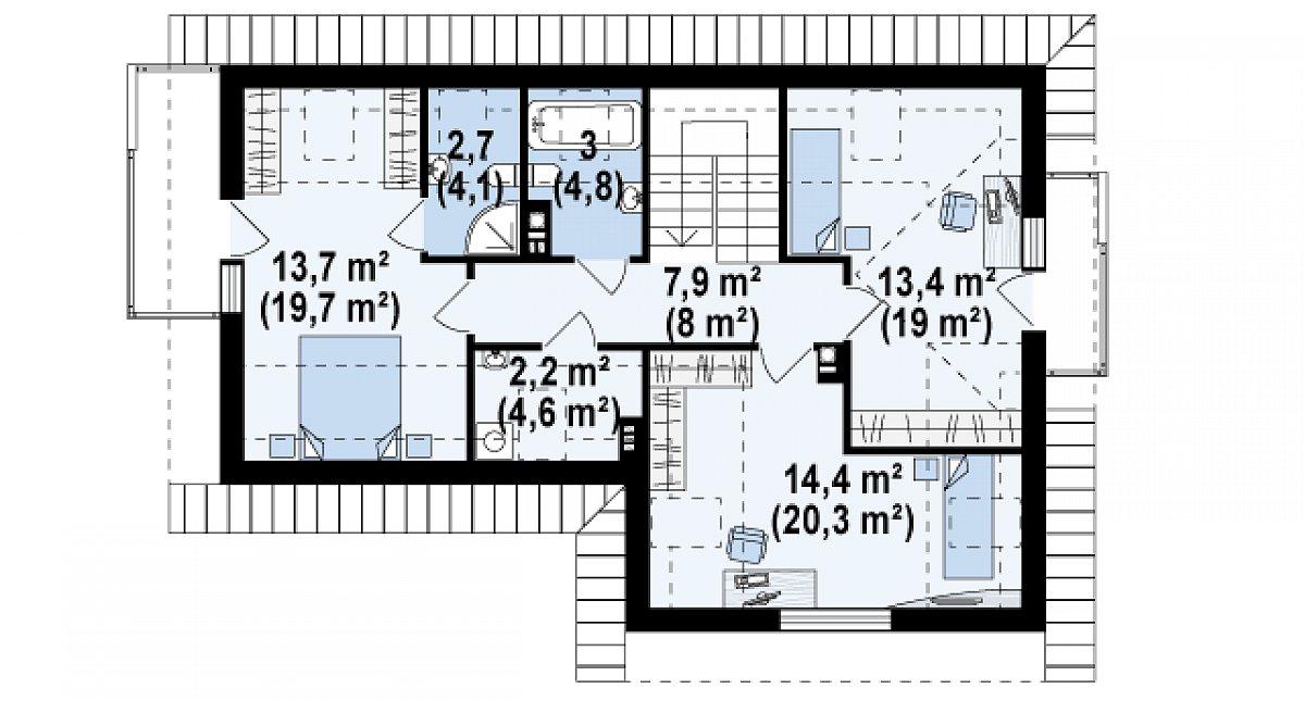 Второй этаж 57,5(78,3м²) дома Z150