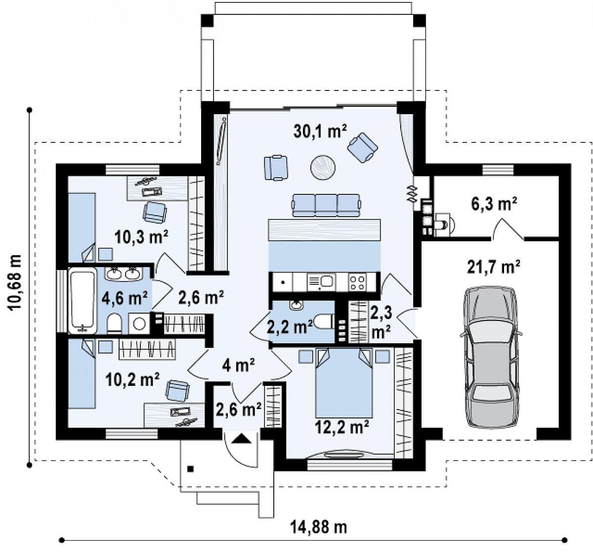 Первый этаж 81,0(109,0м²) дома Z151