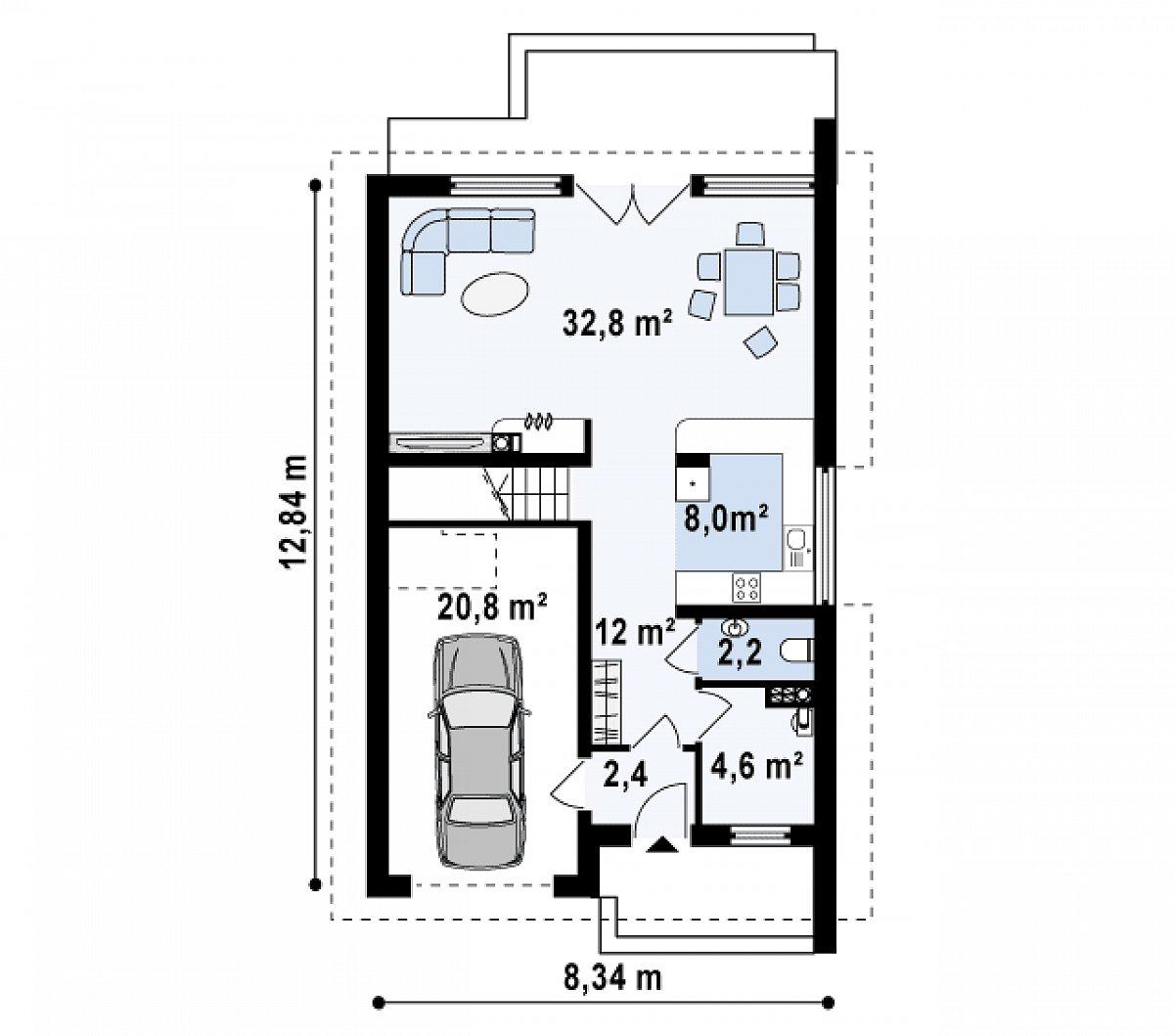 Первый этаж 62,0(82,7м²) дома Z154