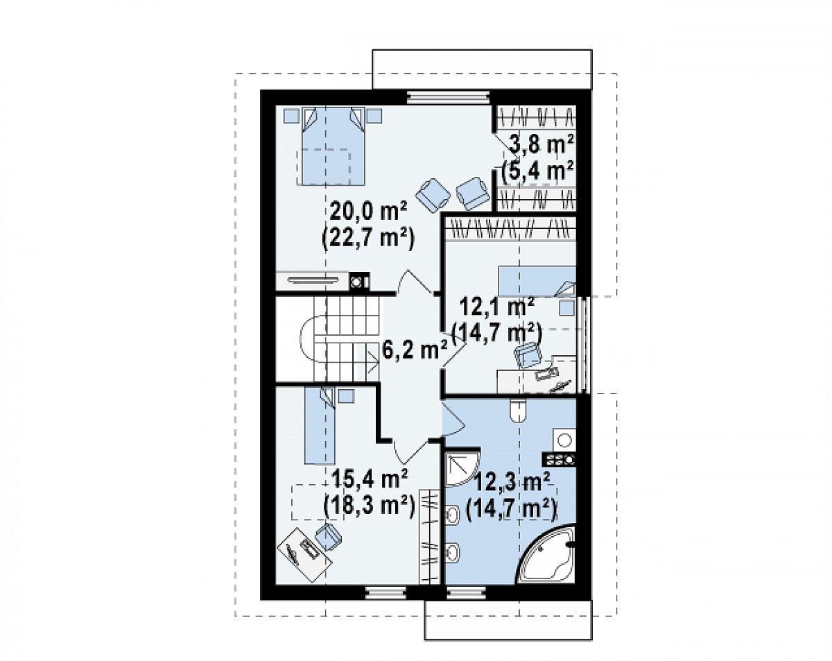 Второй этаж 69,8(81,9м²) дома Z154