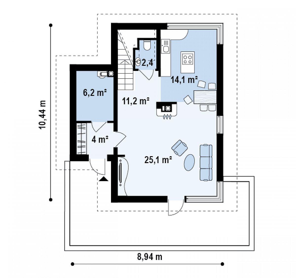 Первый этаж 63,0 м² дома Z155