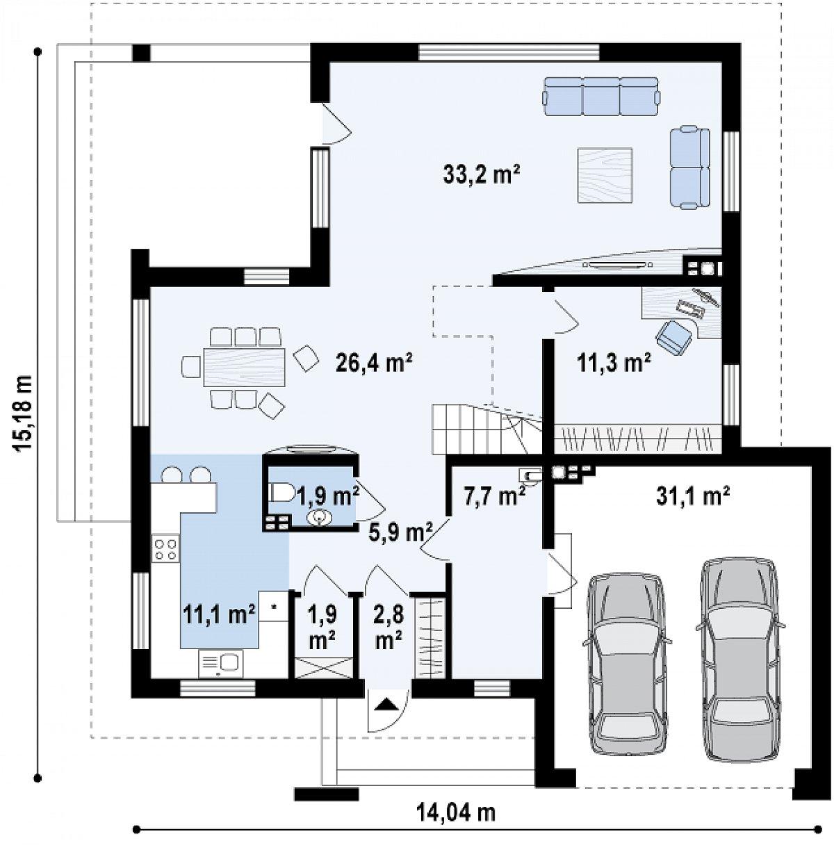 Первый этаж 94,6(133,4м²) дома Z156