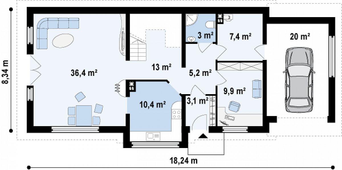 Первый этаж 88,3(108,3м²) дома Z157