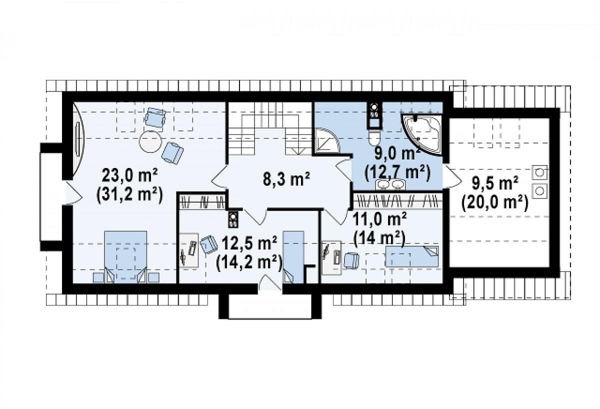 Второй этаж 72,3(100,3м²) дома Z157