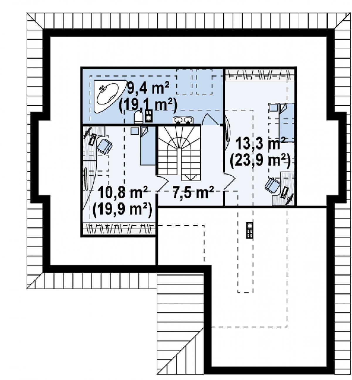 Второй этаж 34,4(70,8м²) дома Z158