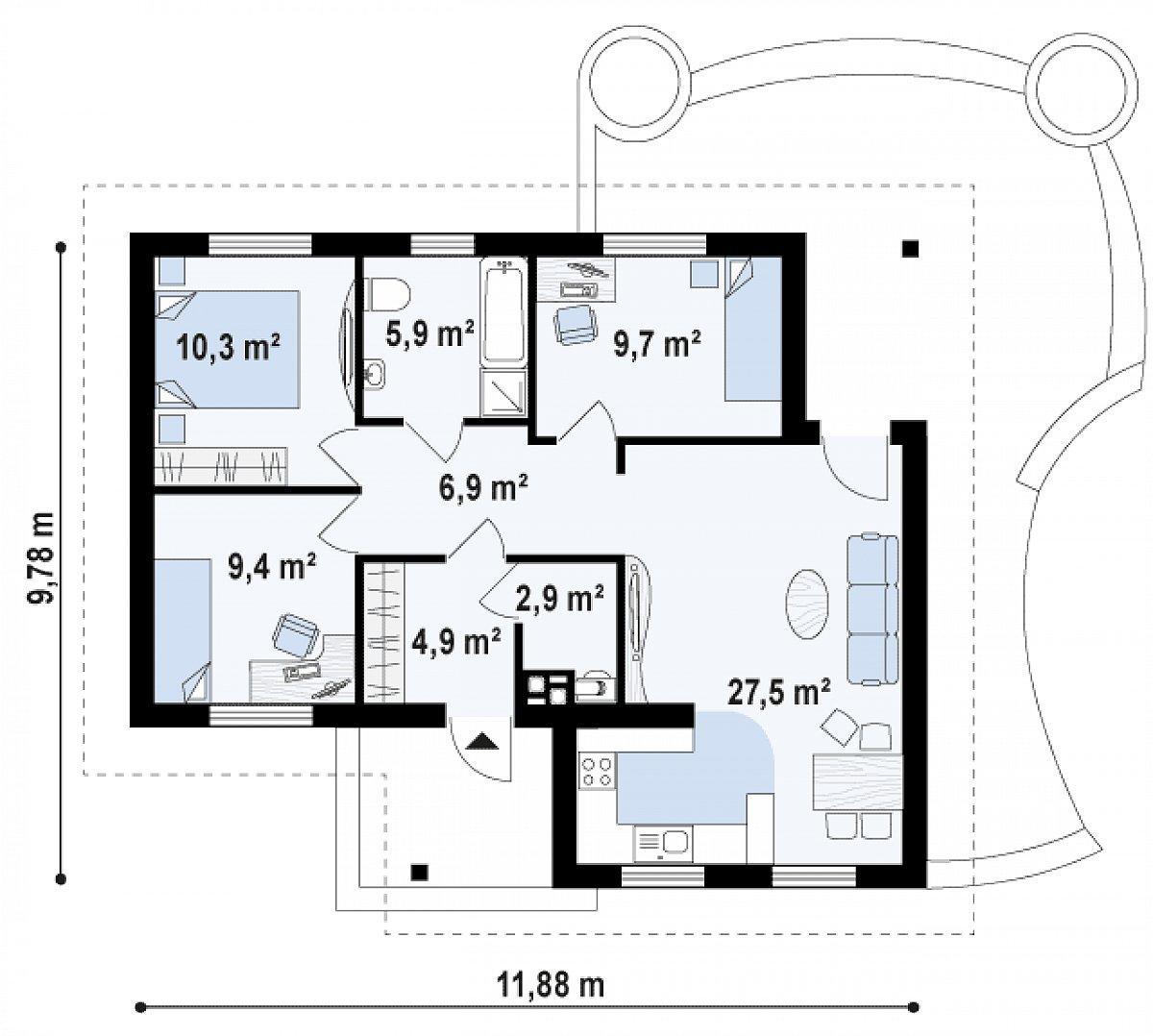 Первый этаж 76,8 м² дома Z15