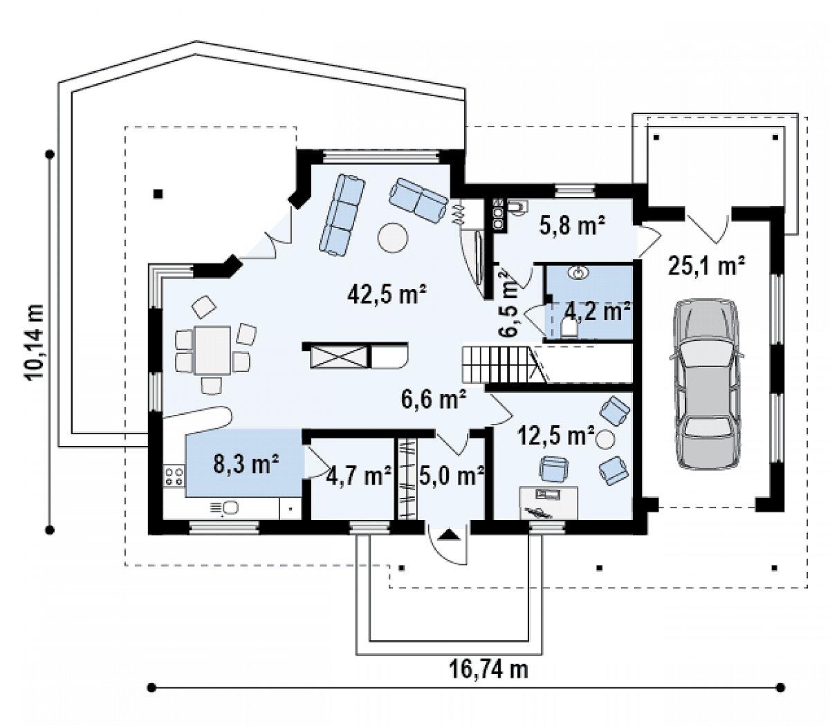 Первый этаж 96,2(121,3м²) дома Z160
