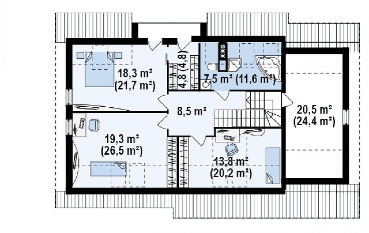 Второй этаж 94,3(117,7м²) дома Z160