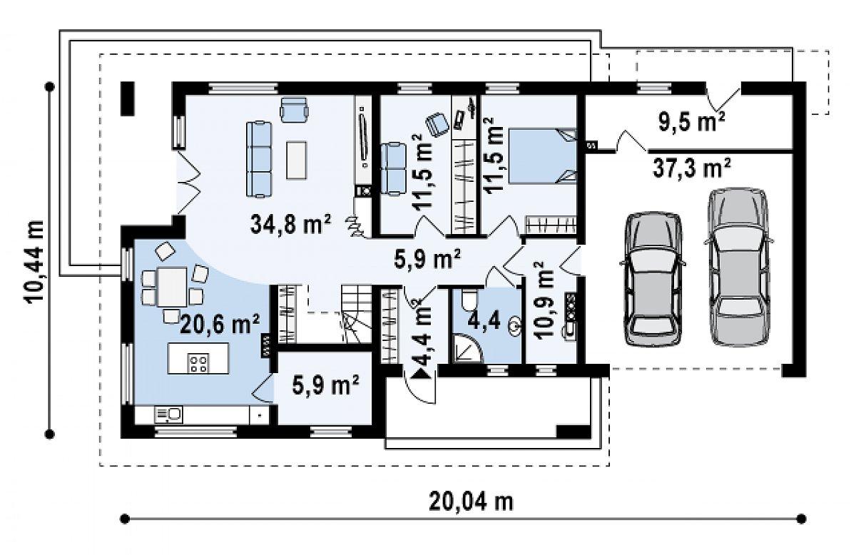 Первый этаж 111,6(148,9м²) дома Z161