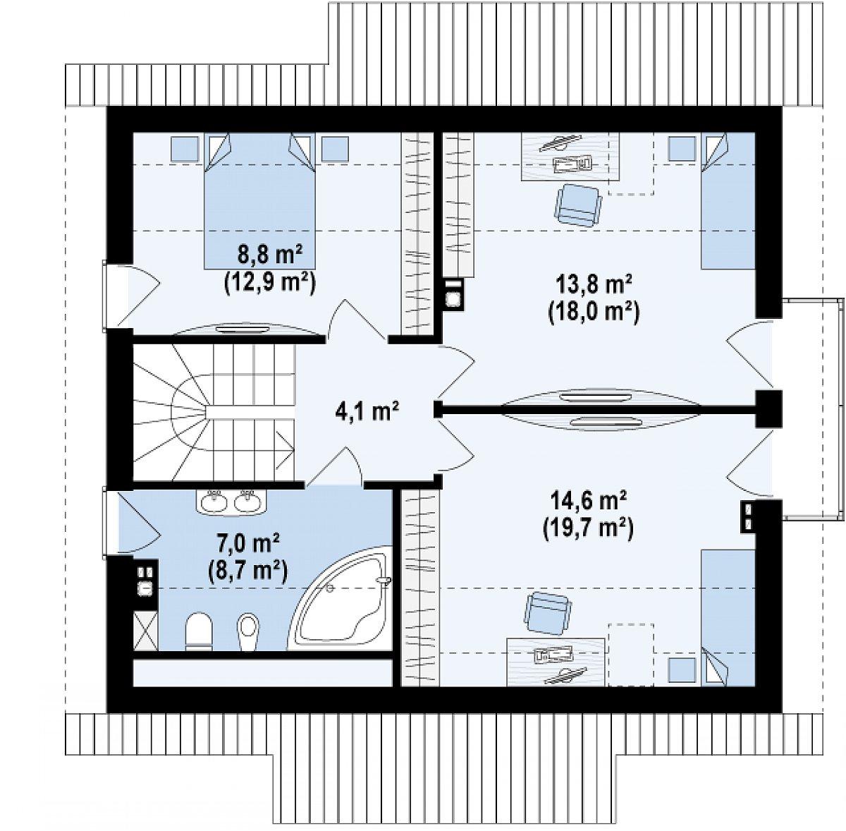 Второй этаж 48,2(63,3м²) дома Z162
