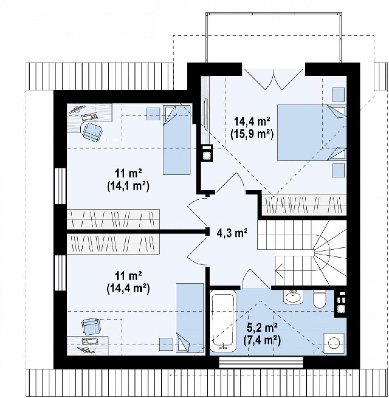 Второй этаж 45,9(56,1м²) дома Z163