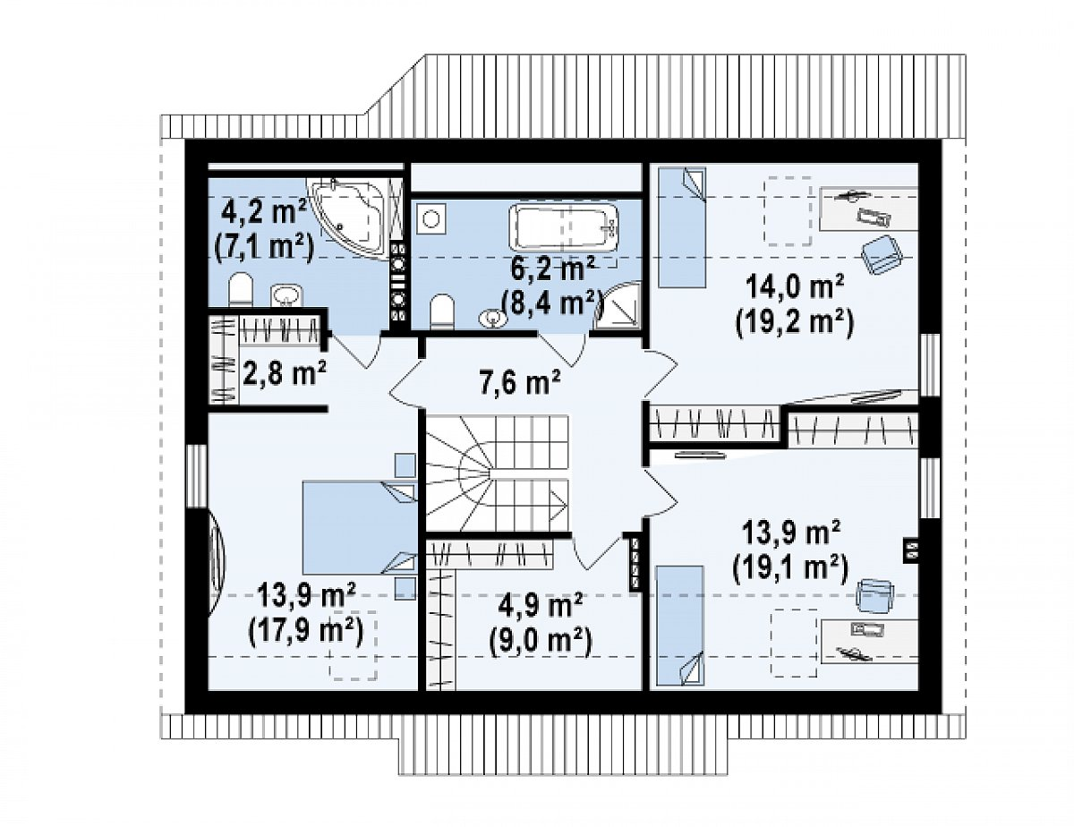 Второй этаж 67,5(90,9м²) дома Z164