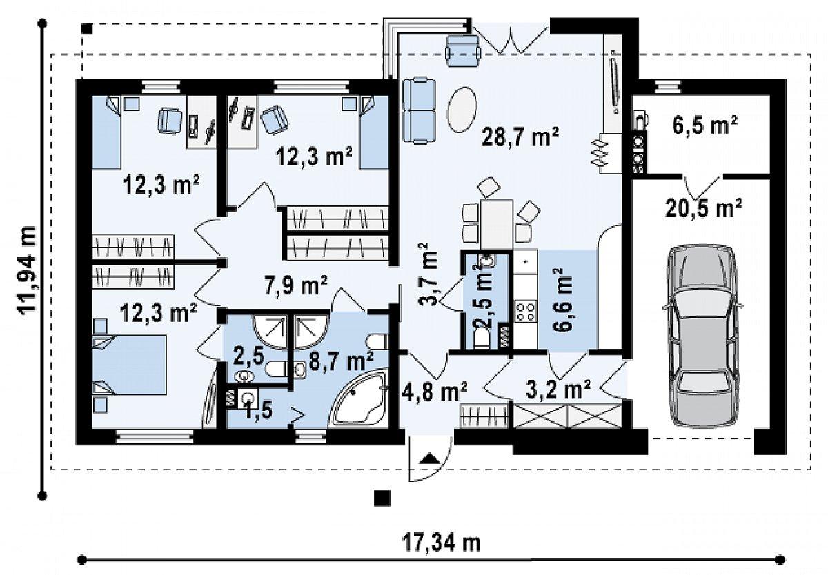 Первый этаж 108,6(135,6м²) дома Z165 v2.0