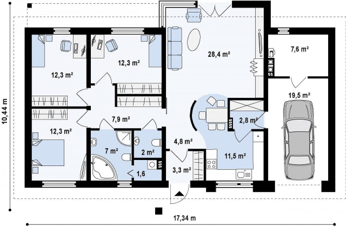 Первый этаж 105,9(132,8м²) дома Z165