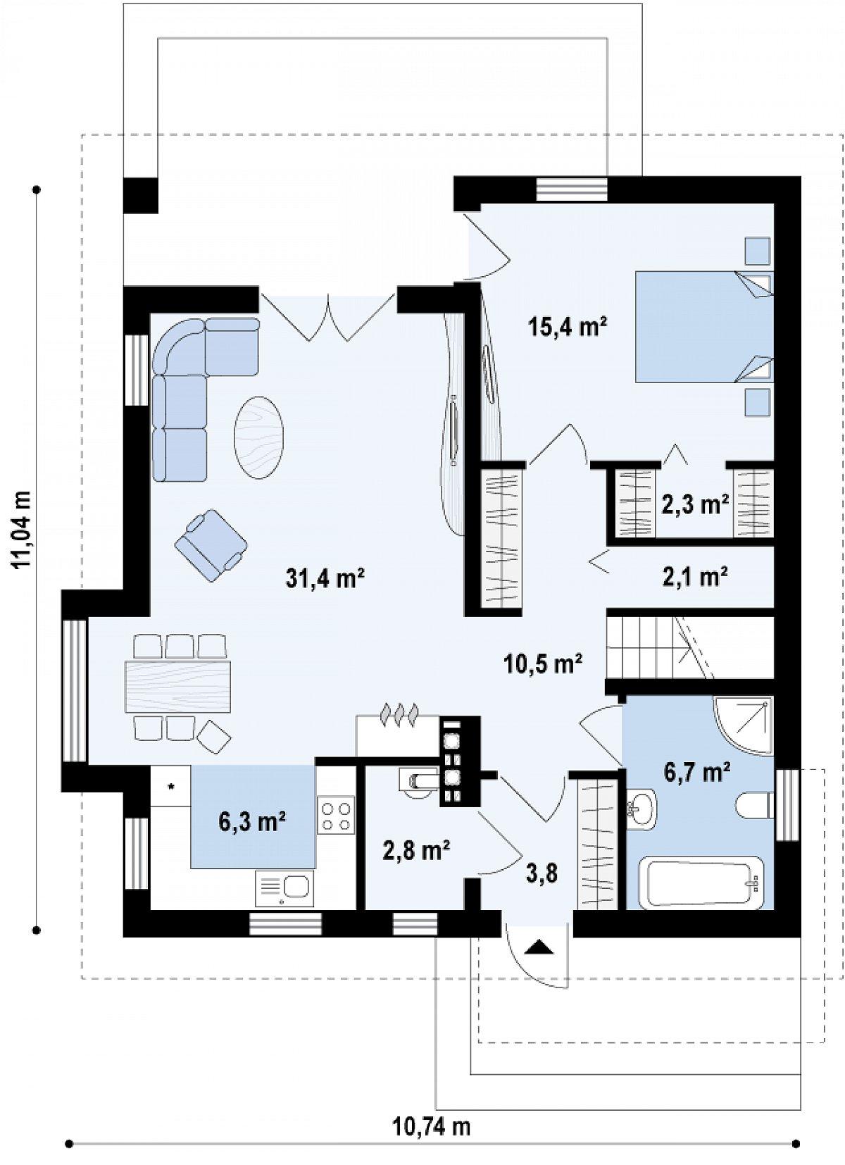 Первый этаж 81,3 м² дома Z166