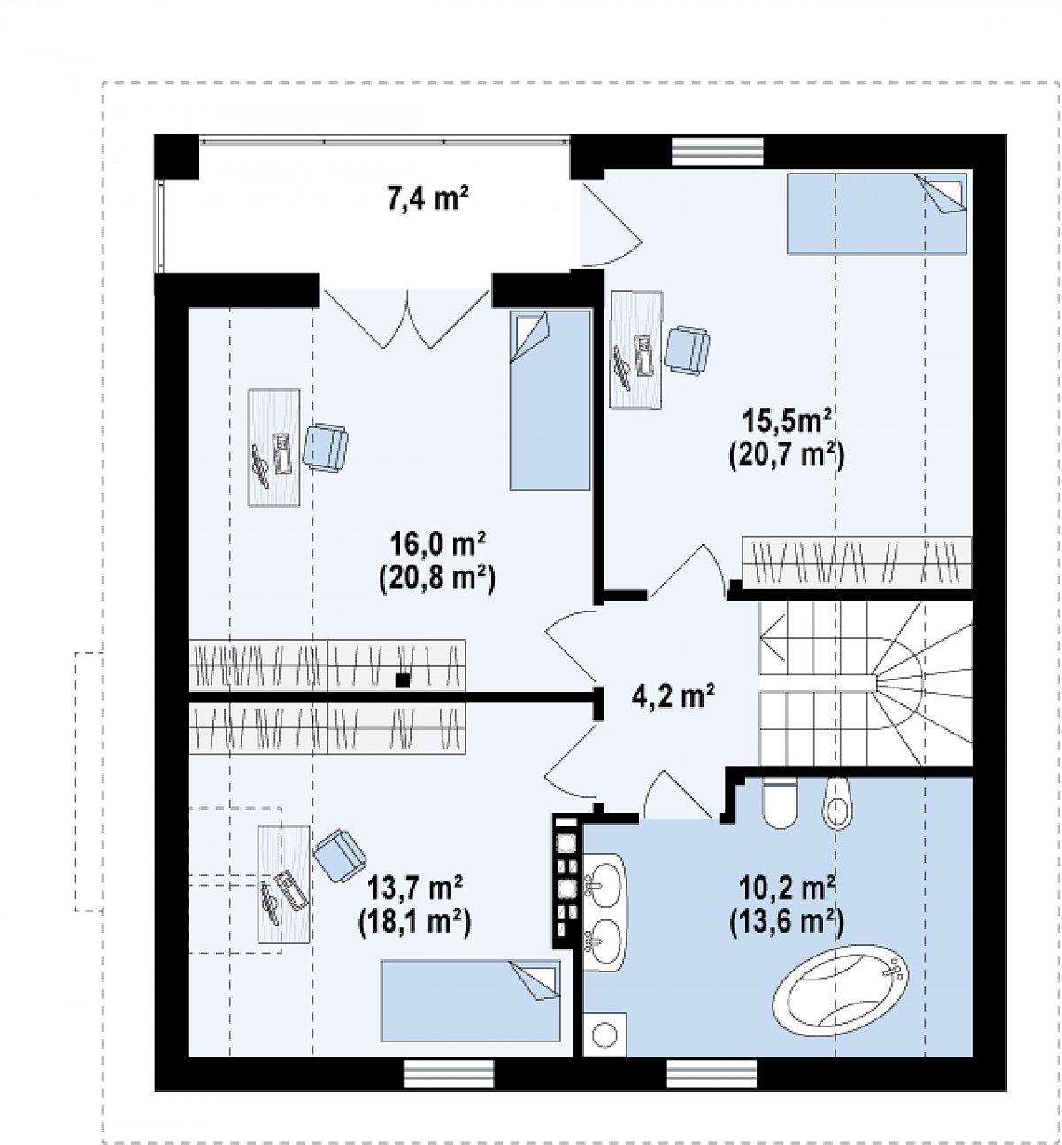Второй этаж 59,6(77,4м²) дома Z166