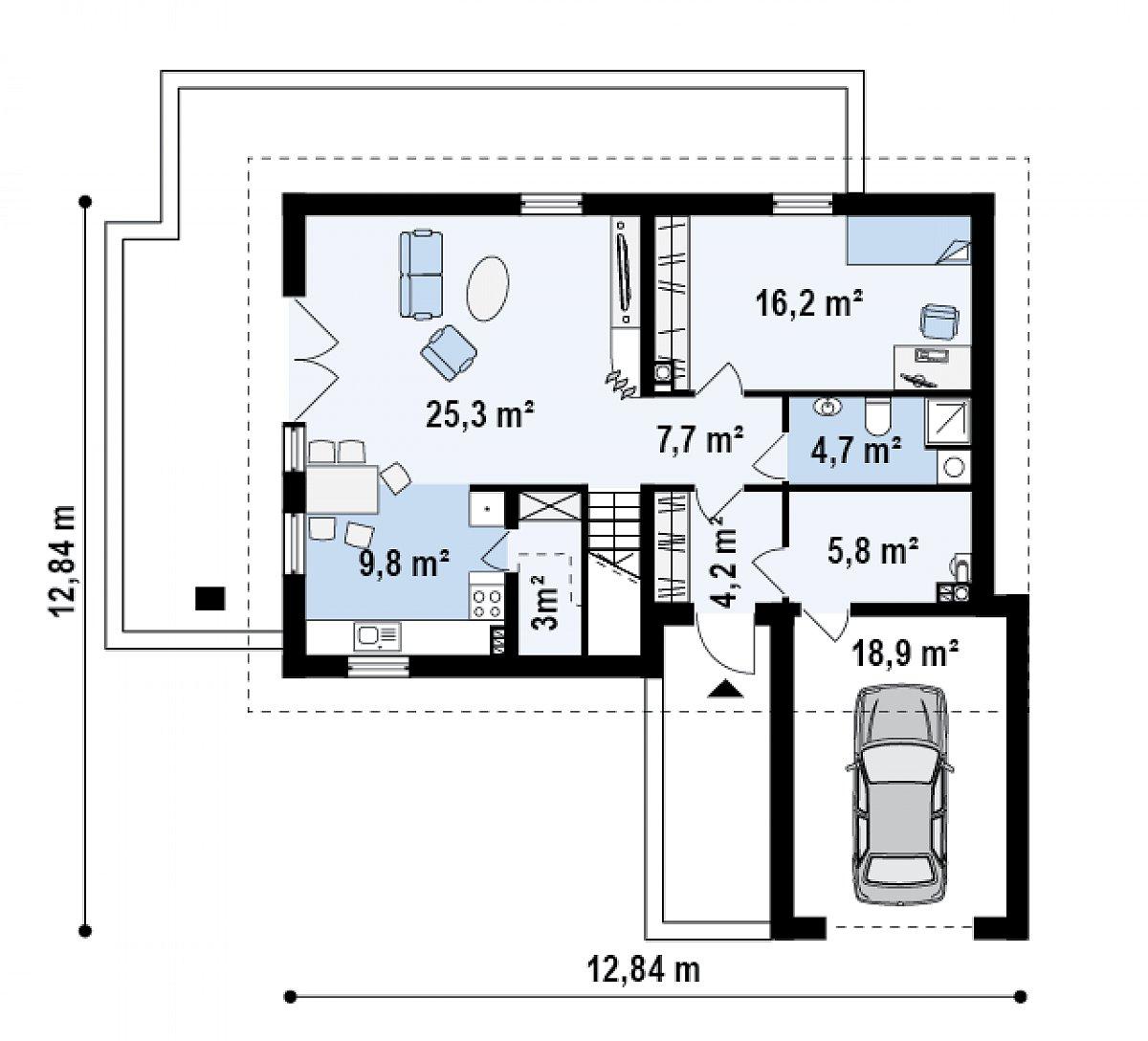 Первый этаж 76,7(95,5м²) дома Z168