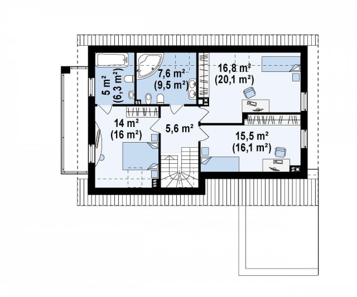 Второй этаж 64,5(73,6м²) дома Z168