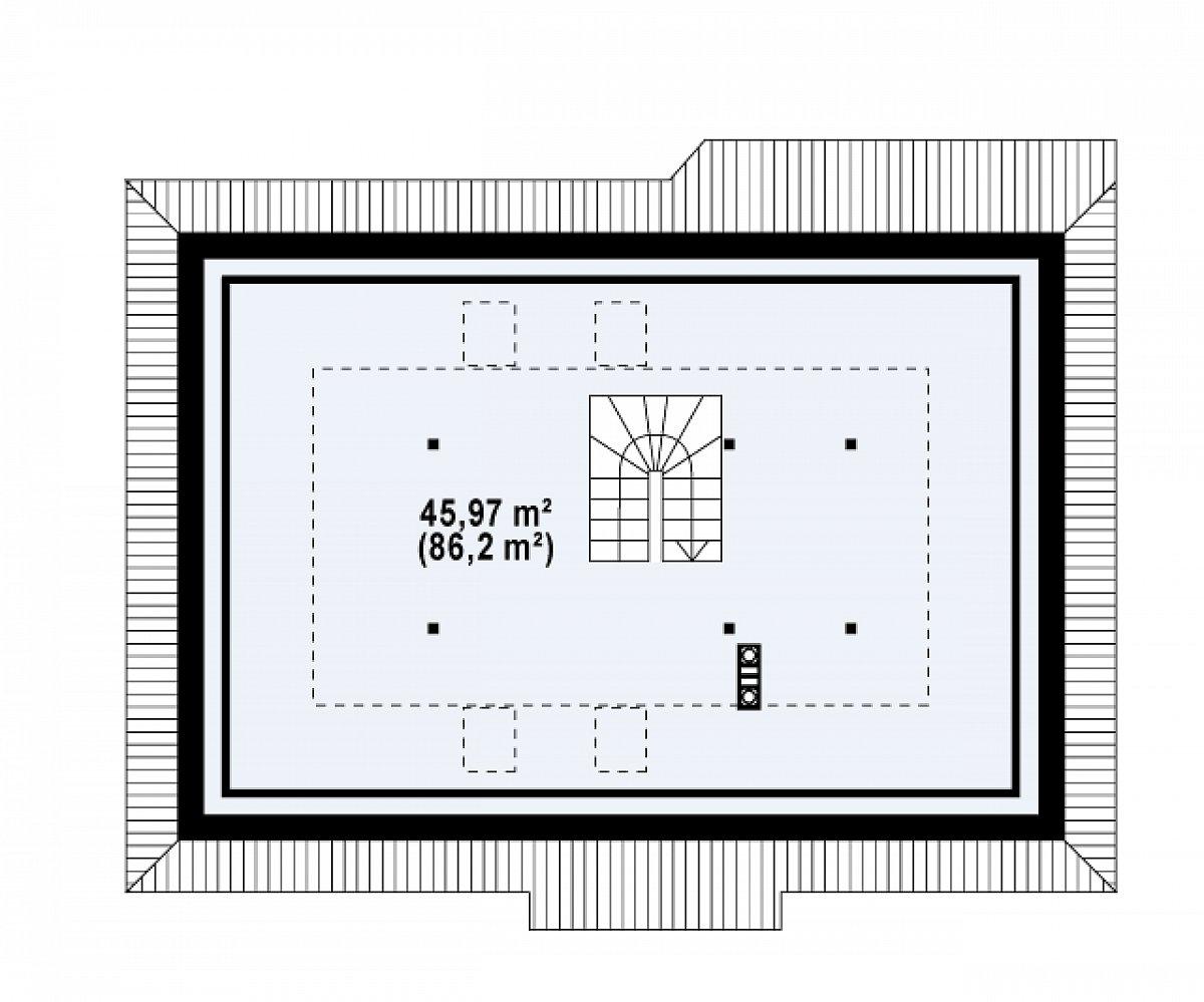 Второй этаж 46,0(86,2м²) дома Z169