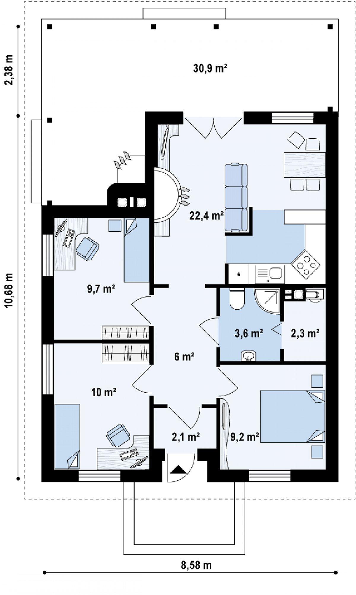 Первый этаж 65,4 м² дома Z16