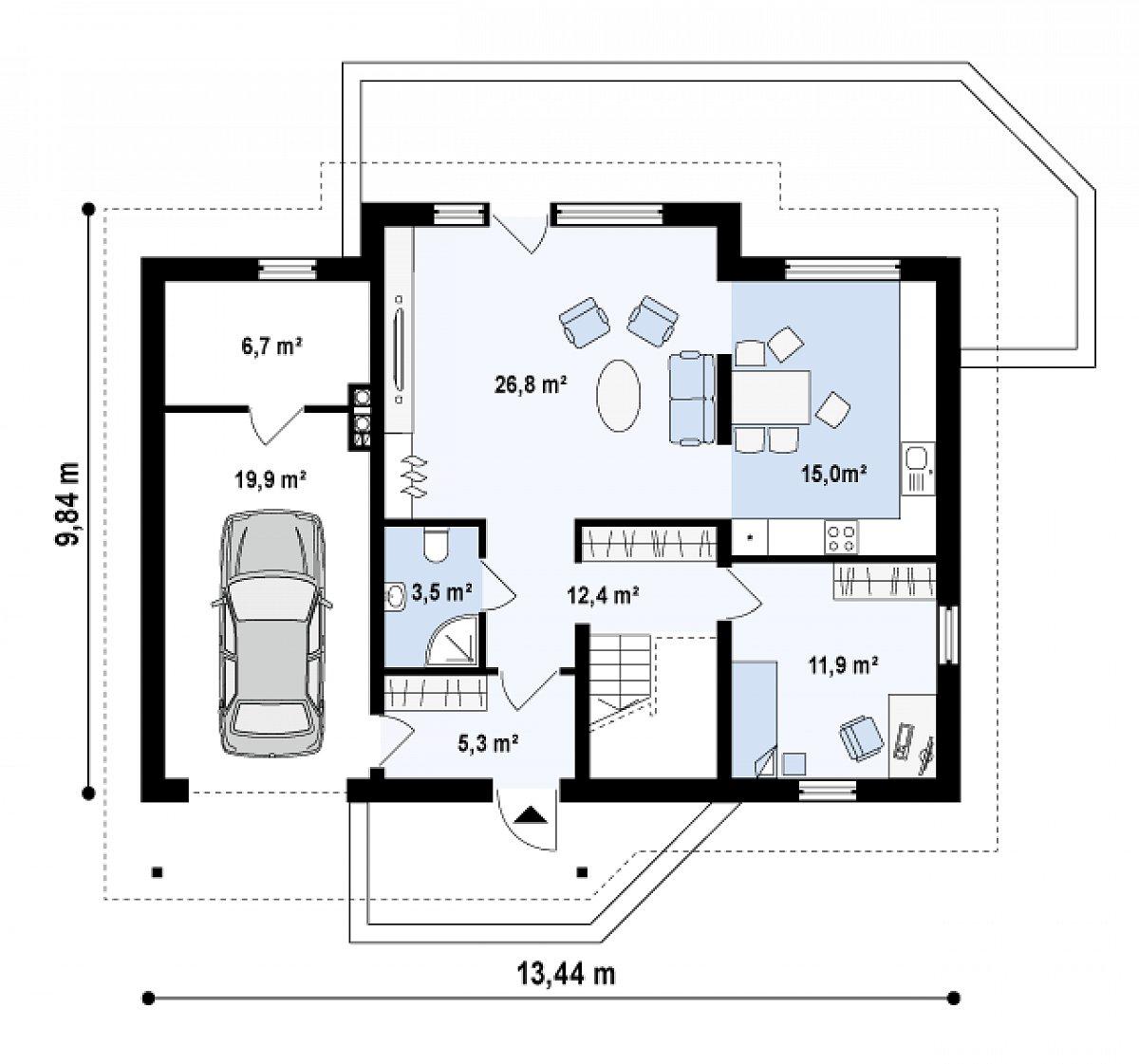 Первый этаж 74,9(101,5м²) дома Z170