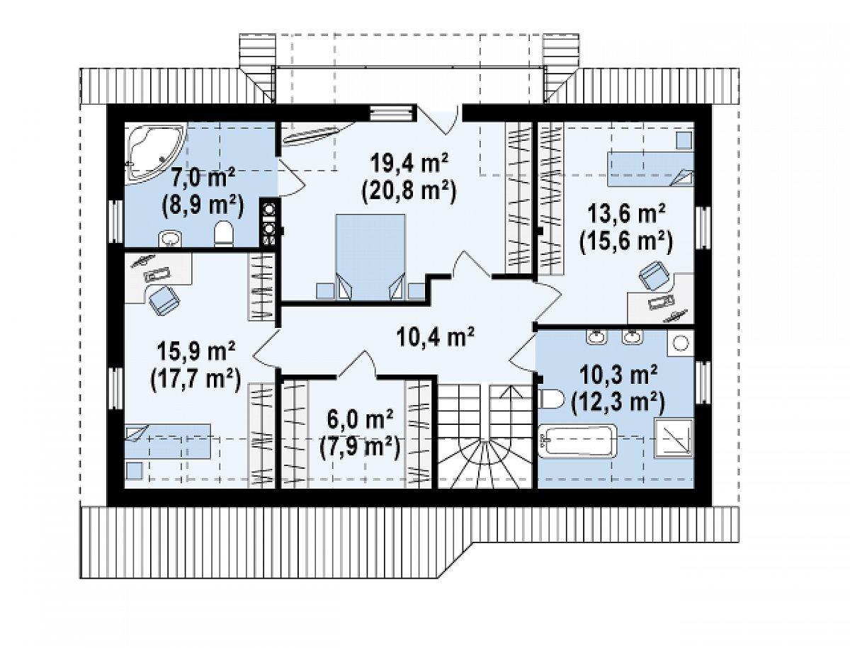 Второй этаж 82,6(93,5м²) дома Z170