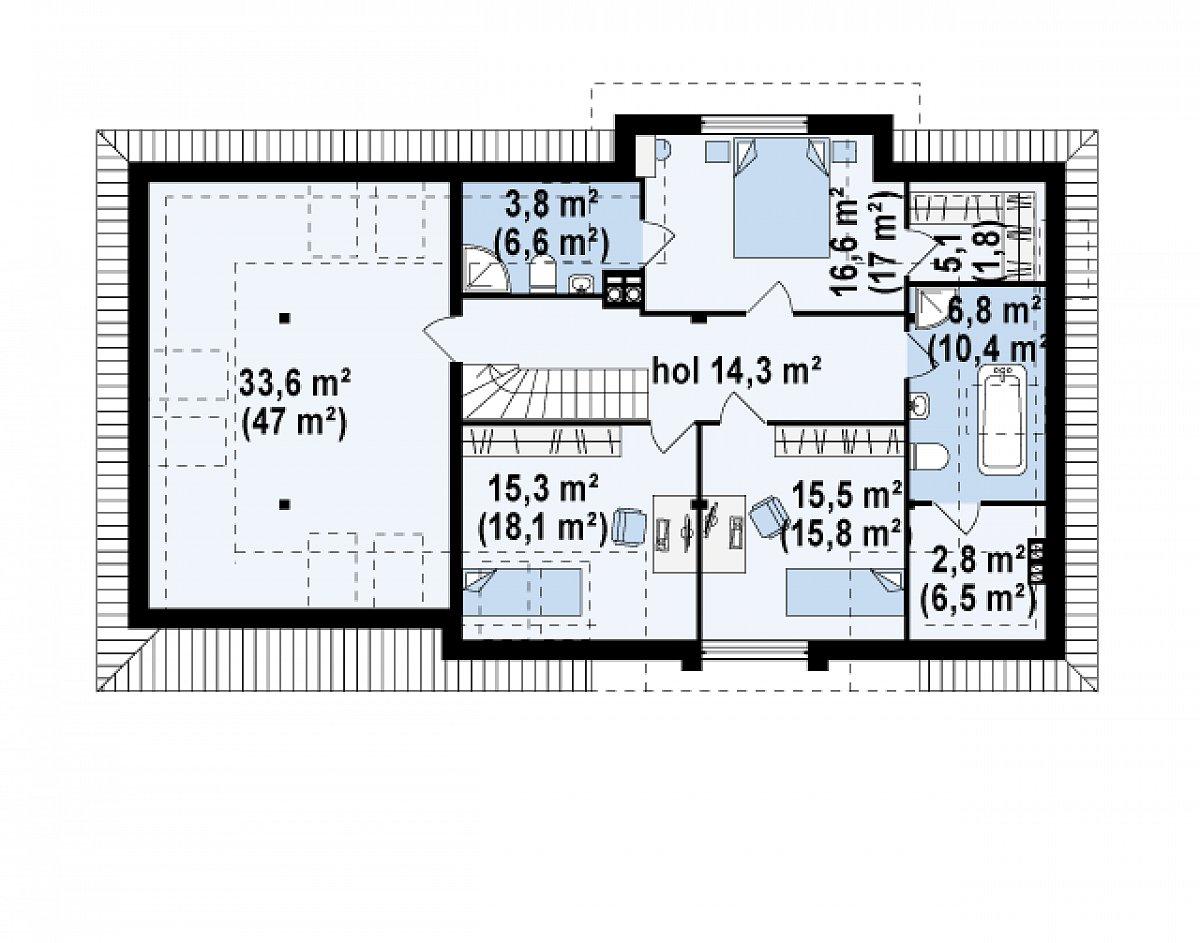 Второй этаж 113,2(140,1м²) дома Z171