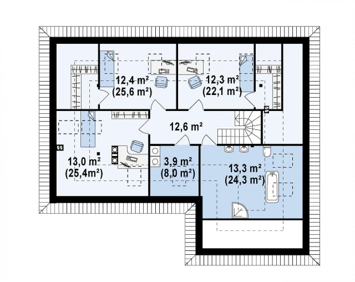 Второй этаж 67,5(118,0м²) дома Z173