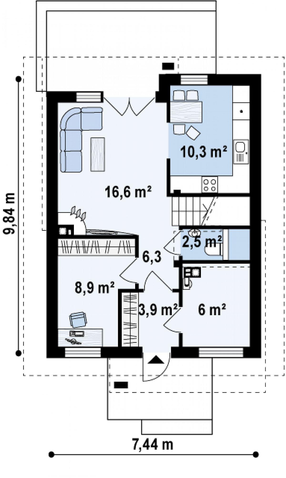Первый этаж 54,8 м² дома Z174