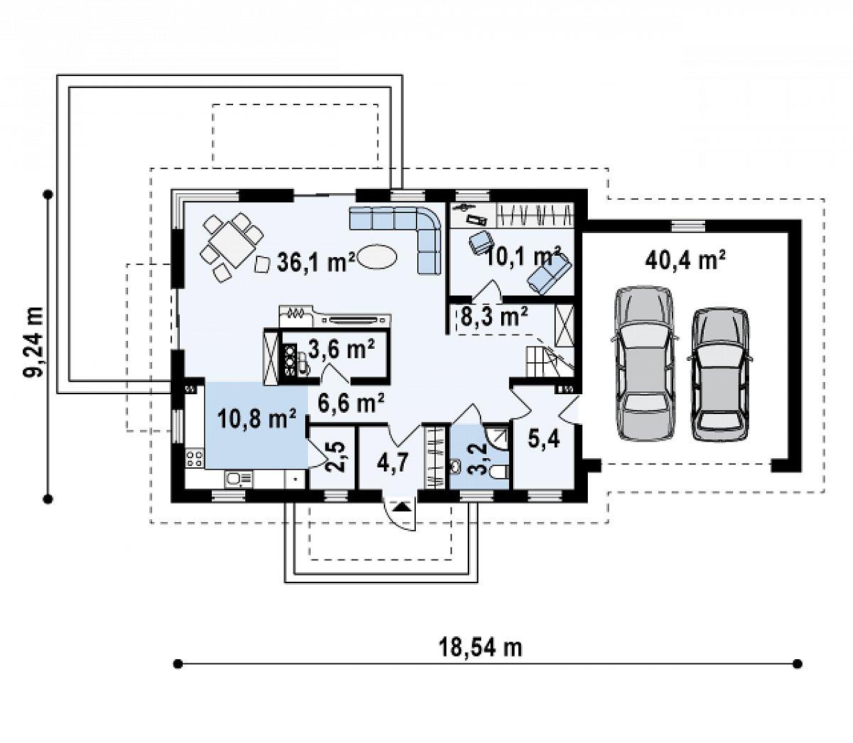 Первый этаж 91,2(131,5м²) дома Z175