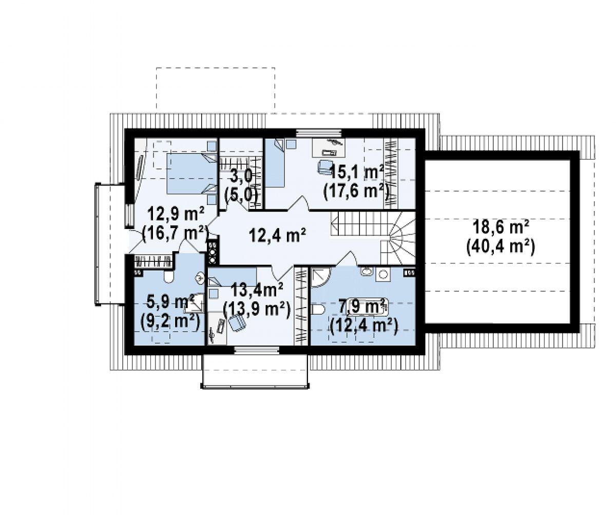 Второй этаж 89,2(127,5м²) дома Z175