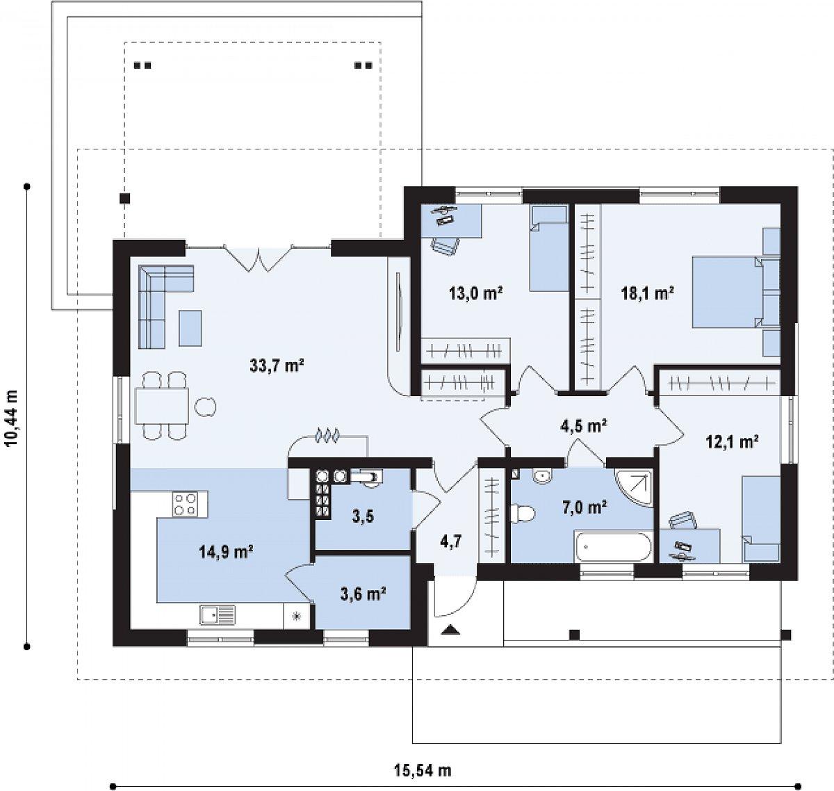 Первый этаж 111,6 м² дома Z176