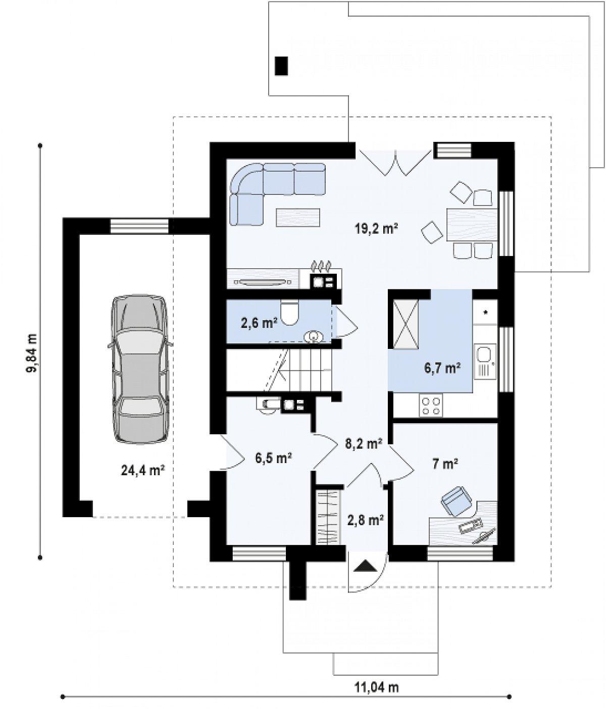 Первый этаж 53,3(77,7м²) дома Z177 GL