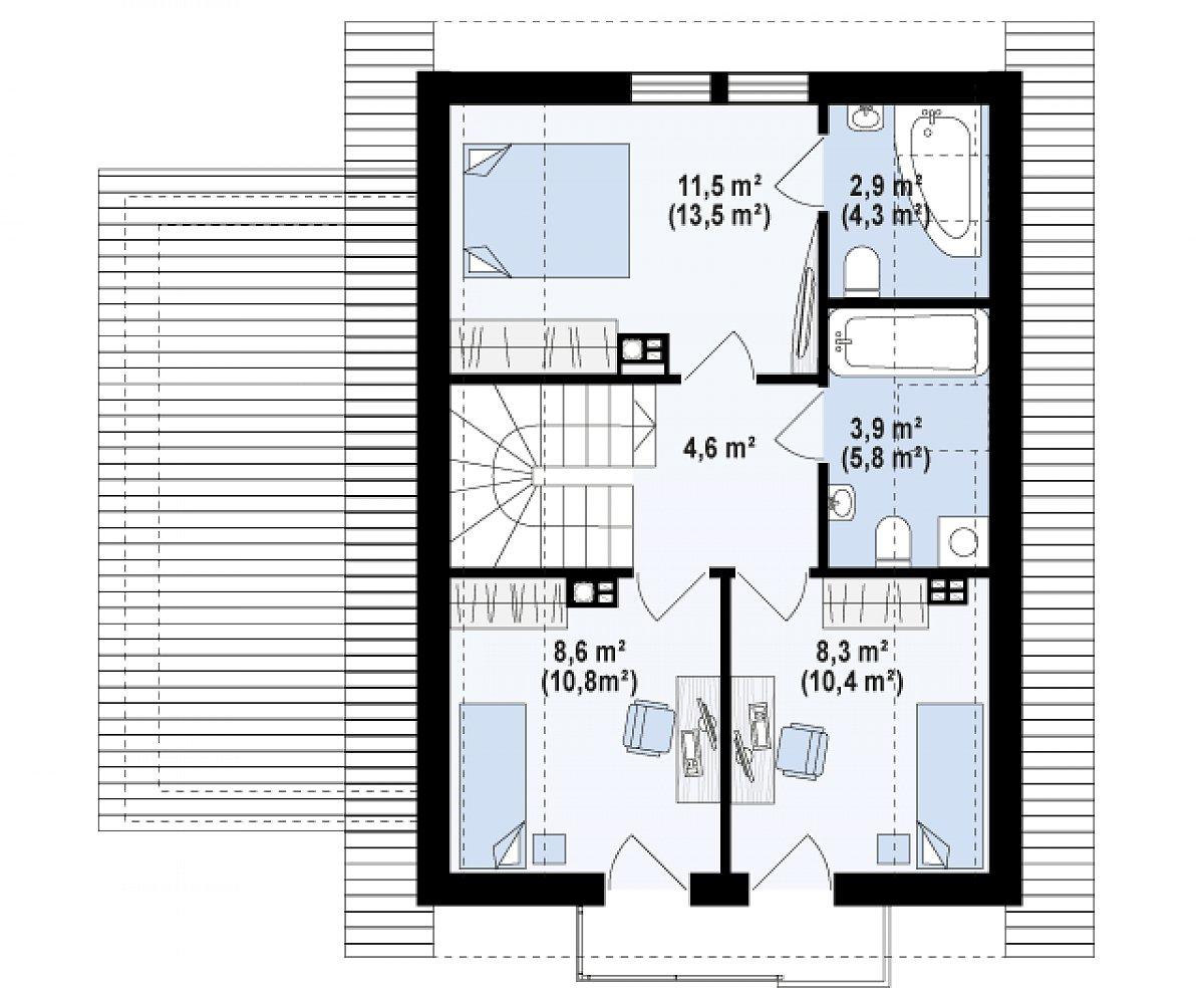 Второй этаж 39,9(49,7м²) дома Z177 GL