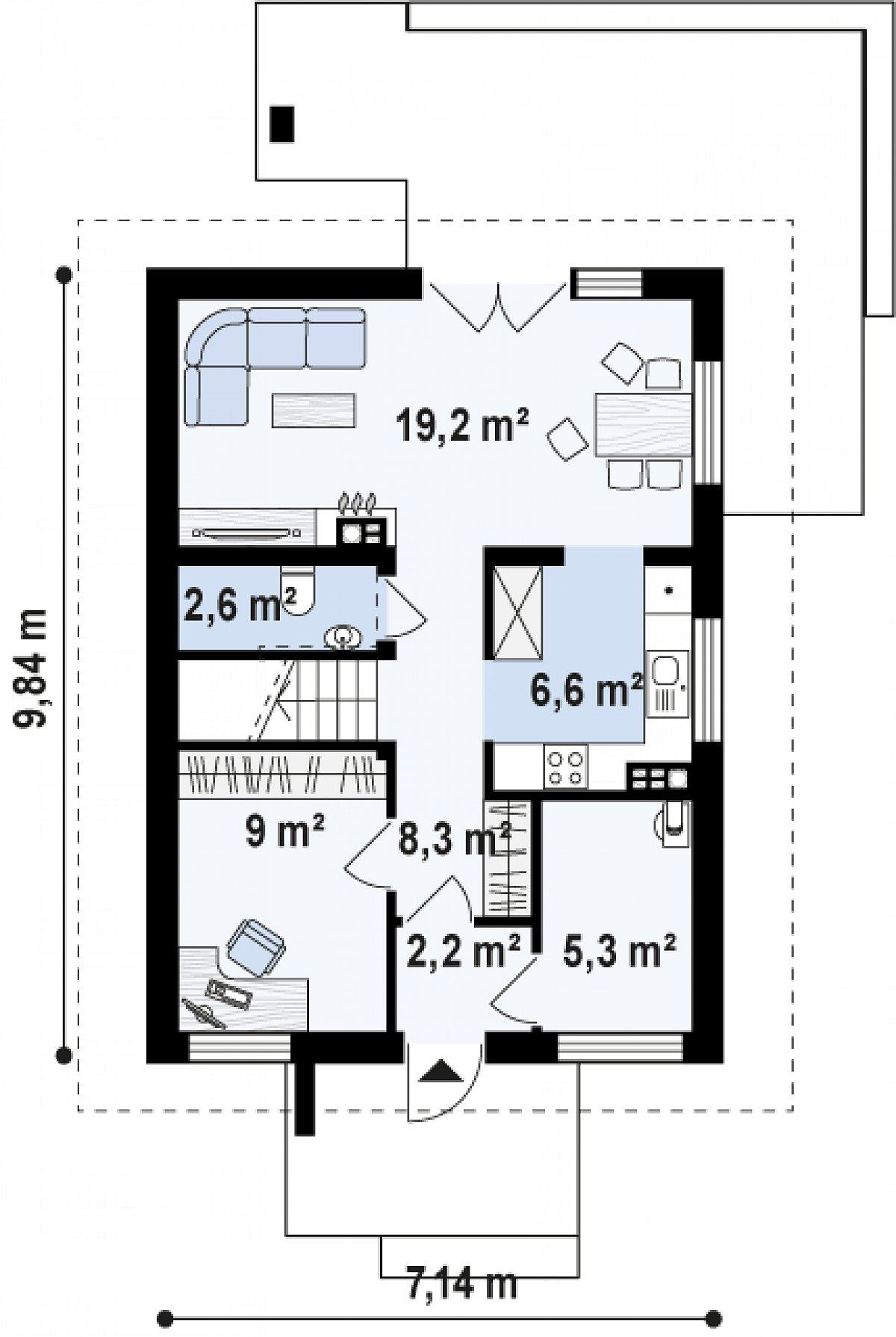 Первый этаж 53,2 м² дома Z177