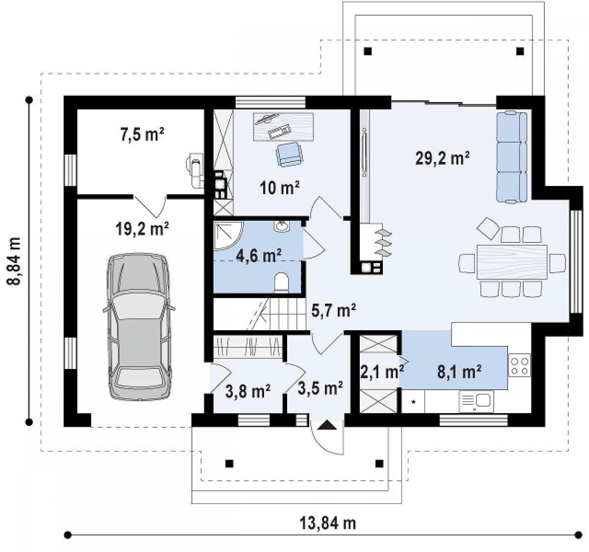 Первый этаж 67,0(93,7м²) дома Z178 a